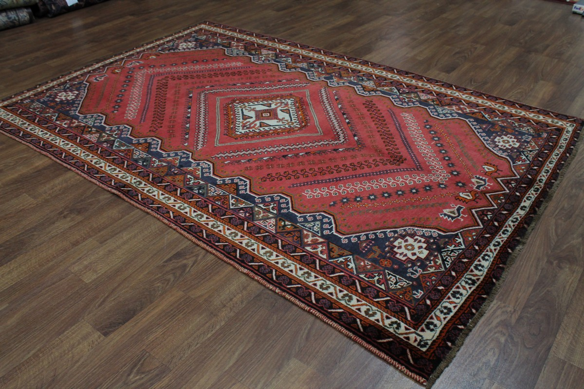 Elegant Rare Semi Antique Shiraz Wool Persian Rug Oriental
