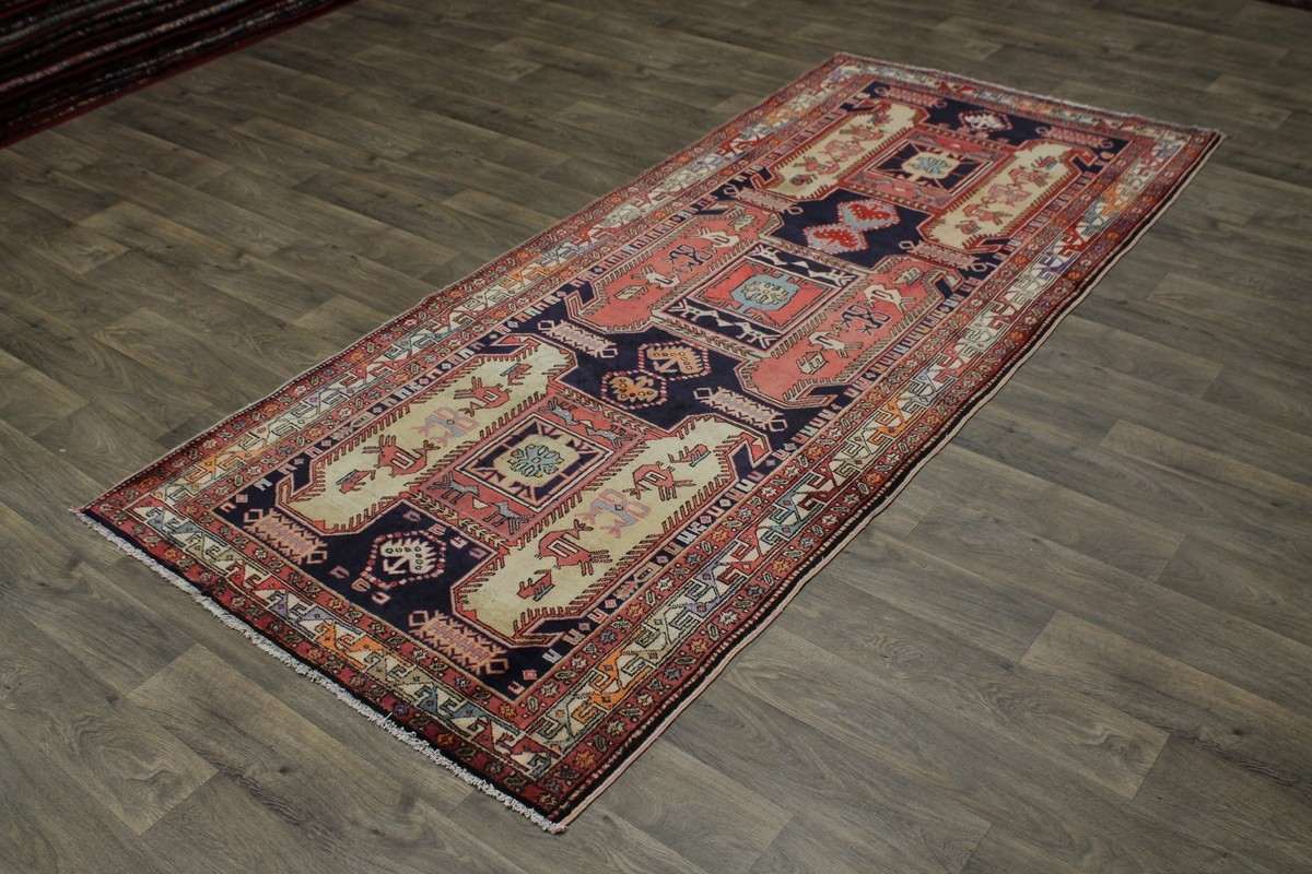 Geometric Semi Antique Runner Meshkin Persian Rug Oriental